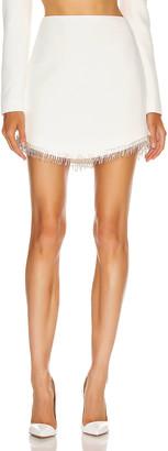 David Koma Crystal Chain Mini Skirt in White & Silver   FWRD