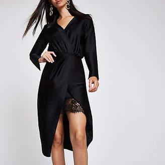 River Island Black wrap front waisted midi dress