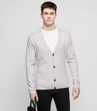 Reiss CLARIDGE Wool-blend knit blazer Soft Grey