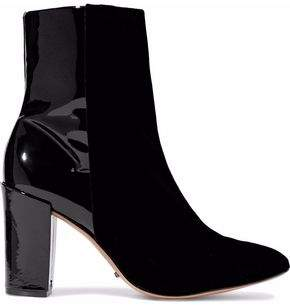 Schutz Patent Leather-Paneled Velvet Ankle Boots