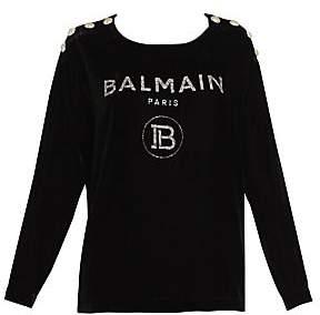 Balmain Women's Glitter Logo Silk-Blend Velvet Top