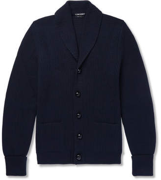 Tom Ford Shawl-Collar Ribbed Wool Cardigan