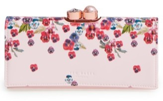 Women's Ted Baker London Scatter Pansy Leather Matinee Wallet - Pink $165 thestylecure.com