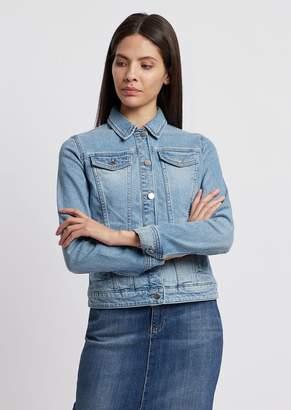 Emporio Armani Jacket In Vintage-Effect Denim