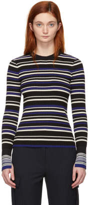 3.1 Phillip Lim Blue and Black Multi-Stripe Pullover