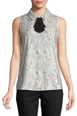 Karl Lagerfeld Paris Floral Bow Sleeveless Button-Down Shirt