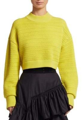 3.1 Phillip Lim Chiffon Knit Cropped Sweater
