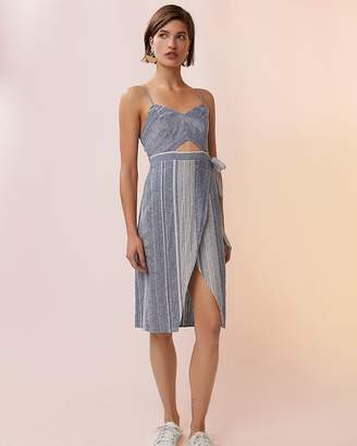 Express Petite Striped Cut-Out Linen-Blend Midi Dress