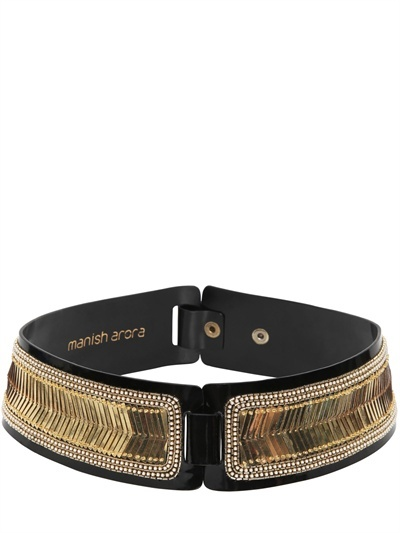 Manish Arora 70mm Leather And Gold Scales Belt