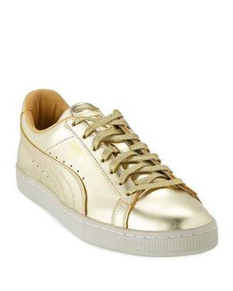 Puma Men's Classic Metallic Leather Low-Top Sneakers