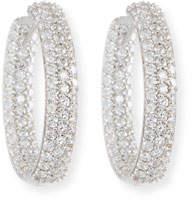 American Jewelery Designs 25mm Pave Diamond Hoop Earrings