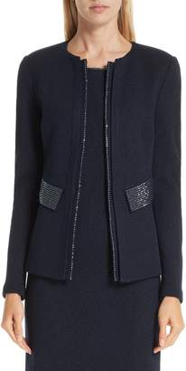 St. John Mod Crystal Trim Knit Jacket