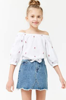 Forever 21 Girls Rose Print Off-the-Shoulder Top (Kids)