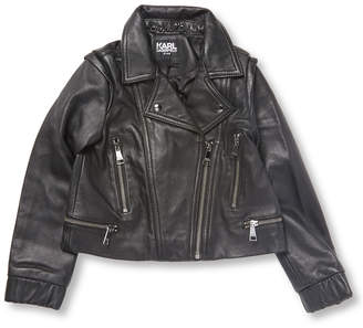 Karl Lagerfeld Paris Lagerfeld Leather Motorcycle Jacket