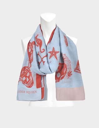 Alexander McQueen 104 x 120 Storm Sea scarf