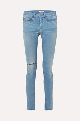 Balenciaga Distressed High-rise Skinny Jeans - Blue