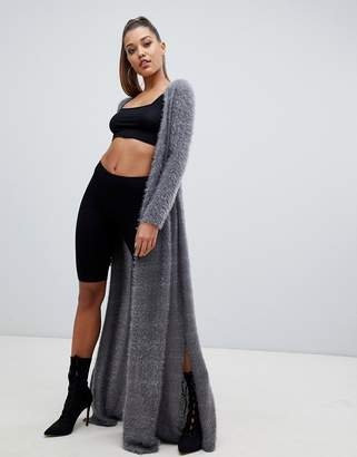PrettyLittleThing eyelash knit maxi cardigan in gray