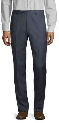 Santorelli Micro Check Flat-Front Wool Trousers