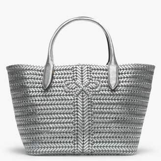 Anya Hindmarch Neeson Silver Metallic Leather Woven Tote Bag