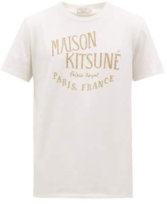 MAISON KITSUNÉ Flocked Logo Cotton Jersey T Shirt - Mens - White
