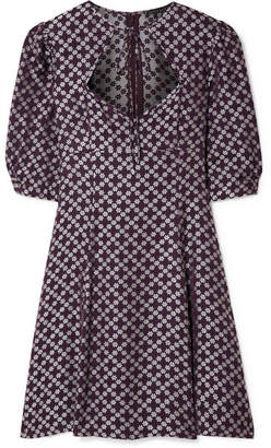ALEXACHUNG Floral-jacquard Mini Dress - Dark purple