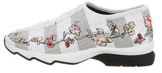 Fendi Floral-Embroidered Slip-On Sneakers