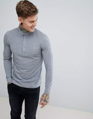 Farah Merriweather Slim Fit Long Sleeve Polo in Gravel Marl
