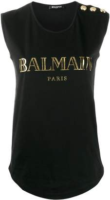 Balmain buttoned shoulders sleeveless logo top
