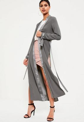 Grey Satin Trim Tie Cuff Duster Coat $77 thestylecure.com