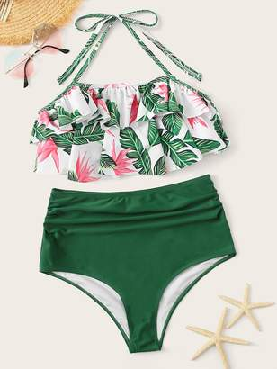 Shein Jungle Print Halter Ruffle Top With High Waist Bikini