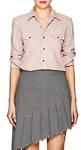 Saint Laurent Women's Cotton Chambray Western Shirt-Light, Pastel pink
