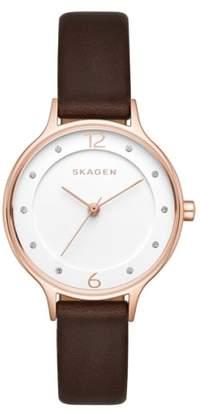 Skagen 'Anita' Leather Strap Watch, 30mm