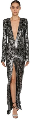 Alexandre Vauthier Zebra Sequins Embellished V Neck Dress