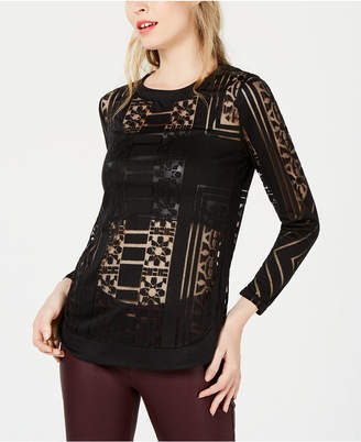 Bar III Sheer Burnout Top
