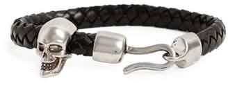 Alexander McQueen Brass Skull Leather Bracelet