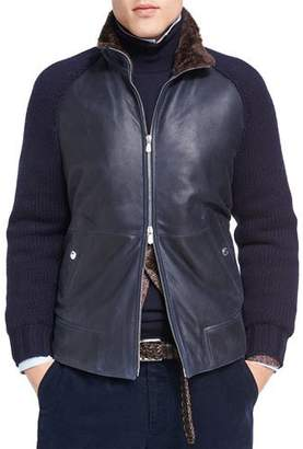 Brunello Cucinelli Cashmere-Sleeve Leather Bomber with Shearling Lining $6,695 thestylecure.com