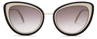 Alexander McQueen Cat Eye Metal Sunglasses - Womens - Grey