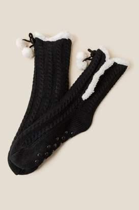 Neve Cable Knit Warmer Socks In Black - Black