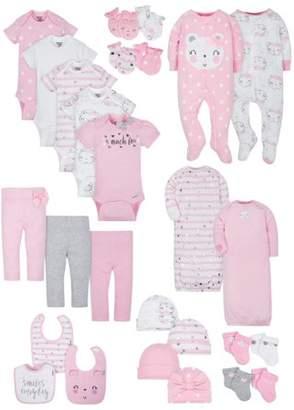Gerber Organic Cotton Baby Shower Baby Essentials Set, 27-piece (Baby Girls)