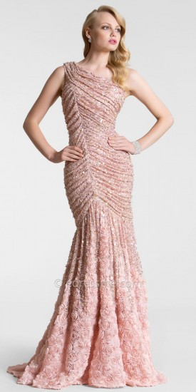 Blush Flower Sequin Lace Evening Dresses by Nika