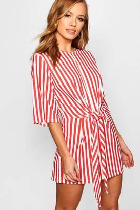 boohoo Petite Twist Front Stripe Playsuit