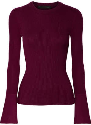 Proenza Schouler Ribbed Silk-blend Sweater - Burgundy