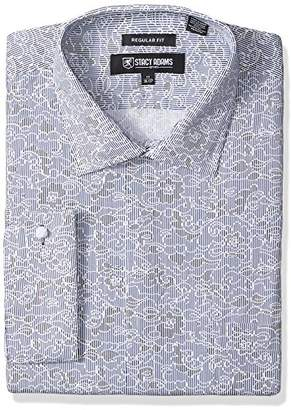 Stacy Adams Men's Big and Tall B and T Floral Sketch On Mini Stripe Classic Fit Dress Shirt