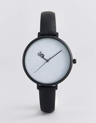 Asos DESIGN watch with sleepy panda in black