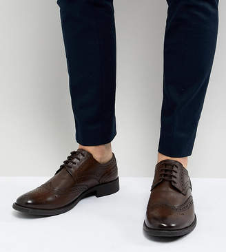 Frank Wright Wide Fit Brogues In Brown Leather