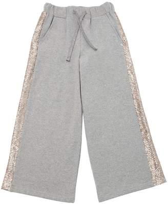 Wide Leg Cotton Pants W/ Sequins