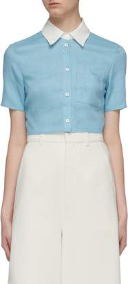 STAUD 'Copa' contrast collar patch pocket cropped linen top