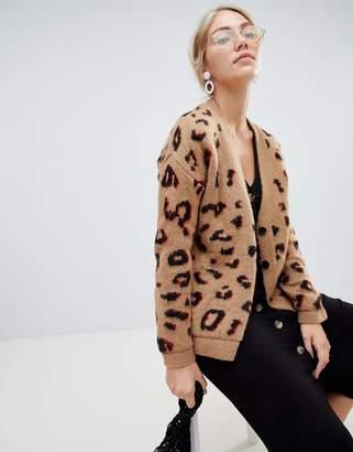 Asos Design DESIGN chunky cardigan in leopard