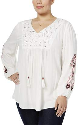 Style&Co. Style & Co. Womens Plus Beaded Long Sleeves Blouse White