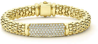Lagos 18k Caviar Gold Rope Bracelet w/ 25mm Diamond Plate